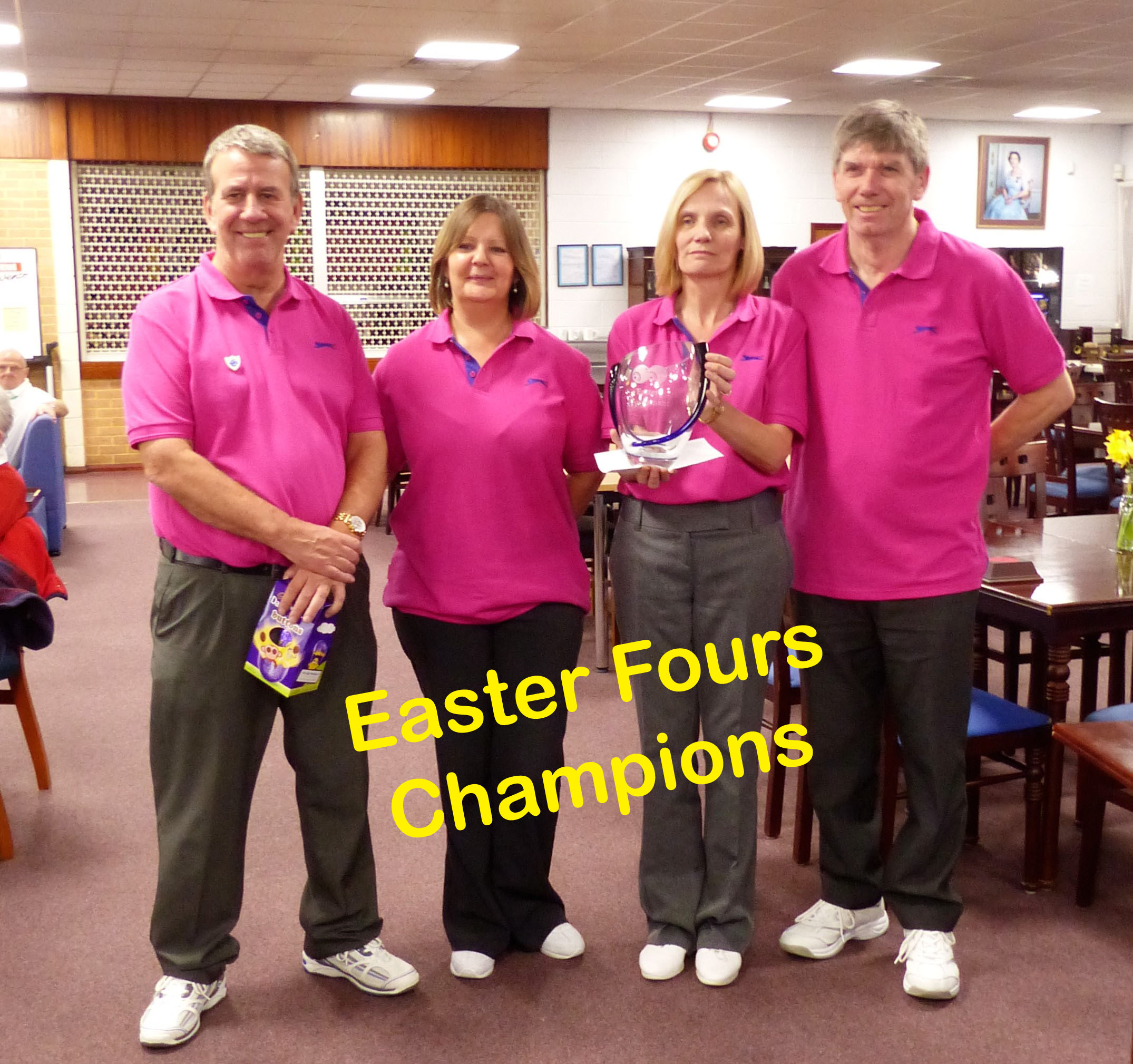 2016-03-25 Easter Fours Winners - Sarah Utton Karen Cranham Nevill Utton Chris Cranham - captioned